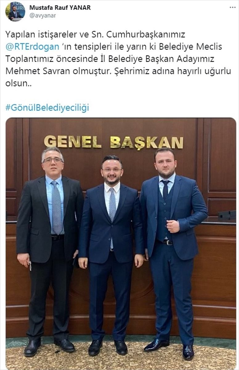 Nevşehir Belediye Başkanlığı seçimi için AK Parti'nin adayı Mehmet Savran oldu