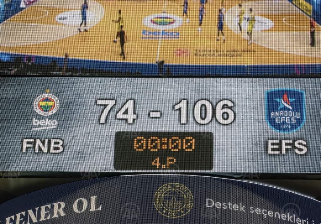 Basketbol Avrupa ligi Fenerbahçe Anadolu Efes'e 74-106 mağlup oldu