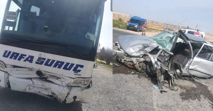 Şanlıurfa'da yolcu otobüsüyle otomobil çarpıştı