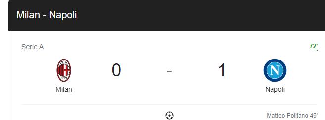 Milan napoli deplasmanında 1-0 yeniliyor