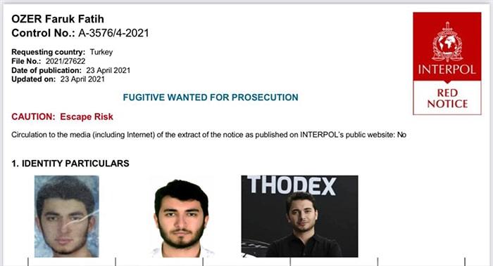Thodex'in kurucusu Fatih Faruk Özer için kırmızı bülten