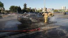 Kadıköy'de D-100 Karayolu'nda araçta yangın çıktı