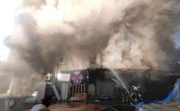 Bahçelievler'de yatak ve baza imalathanesinde yangın çıktı
